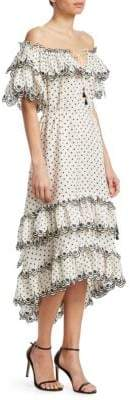 Zimmermann Jaya Scallop Tiered Midi Dress