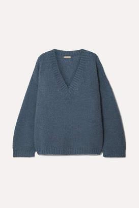 Bottega Veneta Oversized Wool And Alpaca-blend Sweater - Dark denim