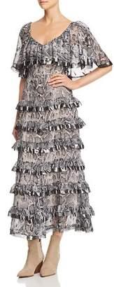Rebecca Taylor Snake-Print Ruffle-Trim Midi Dress