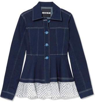 House of Holland Swiss-dot Tulle-trimmed Denim Jacket - Indigo