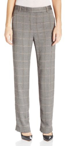 Chaus Women's Emma Straight Leg Menswear Plaid Pant
