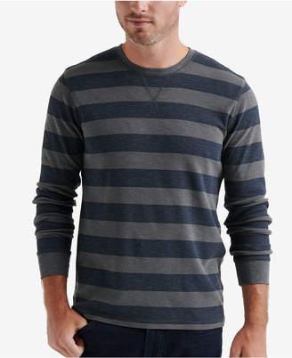Lucky Brand Men Textured Thermal-Knit Stripe T-Shirt