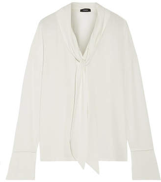 Theory Pussy-bow Silk Crepe De Chine Blouse - White