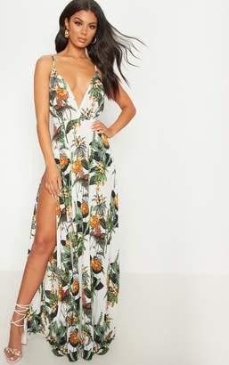 PrettyLittleThing White Floral Print Extreme Split Strappy Back Maxi Dress