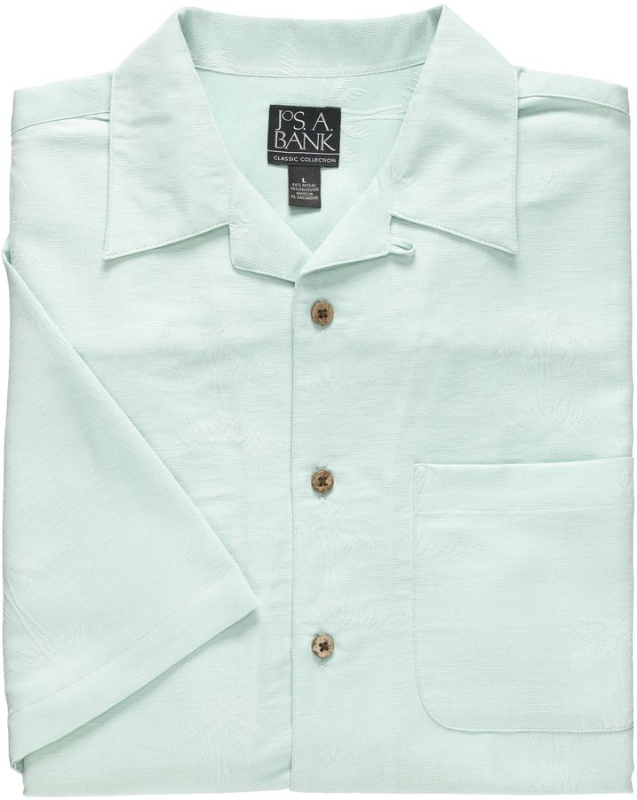 Jos. A. Bank Factory Store Jacquard Palm Short Sleeve Sportshirt
