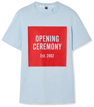 Opening Ceremony Printed Cotton-jersey T-shirt - Sky blue