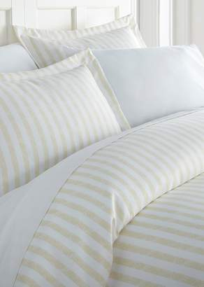 IENJOY HOME Home Collection Premium Ultra Soft 3-Piece Puffed Rugged Stripes King/Cal King Duvet Cover Set - Ivory