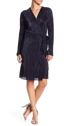 Vince Camuto Long Sleeve Pleated Wrap Dress