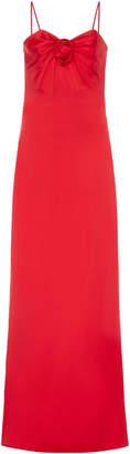 Alessandra Rich Knot Front Silk Maxi Slip Dress Size: 38