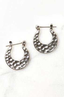 Luv Aj Silver Mini Hammered Sheet Hoop Earrings