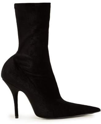 Point Toe Velvet Sock Ankle Boots - Womens - Black
