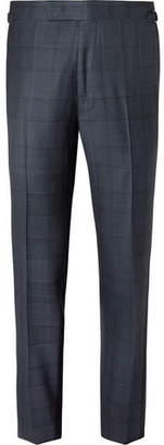 Tom Ford Navy Slim-Fit Prince of Wales Checked Wool Suit Trousers - Men - Navy