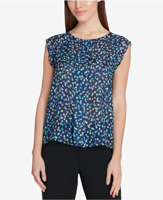 Tahari ASL Confetti-Print Pleat-Front Top