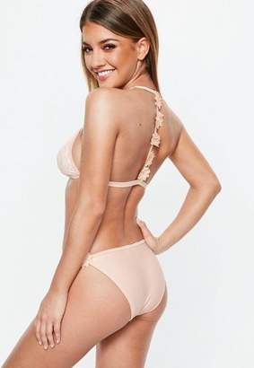 Missguided peach 3d flower lace triangle bikini set, Pink