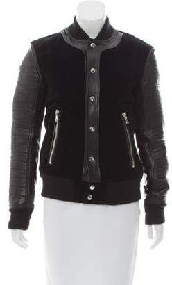 Balmain Leather-Trimmed Velvet Jacket
