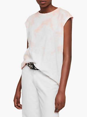 AllSaints Brookita Cotton T-Shirt, Pink/Chalk