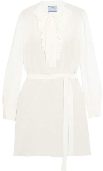pradaPrada - Pussy-bow Ruffled Silk Crepe De Chine Mini Dress - Ivory