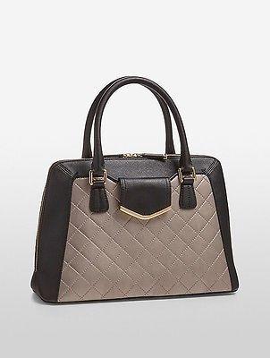 Calvin KleinCalvin Klein Womens Saffiano Leather Quilted Satchel Black/Taupe