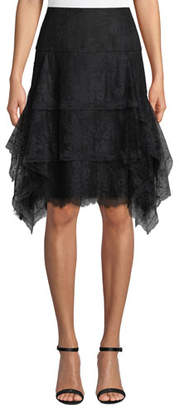 Josie Natori Tiered Floral-Lace Knee-Length Skirt