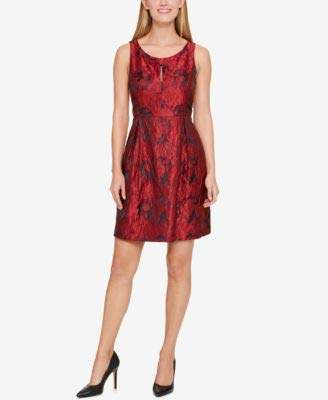 Tommy Hilfiger Women's Bouquet Jacquard Dress with Knot Neck