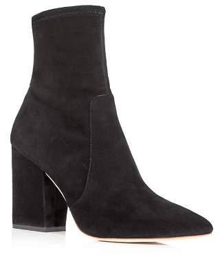 Loeffler Randall Women's Isla Suede Pointed Toe Block Heel Booties