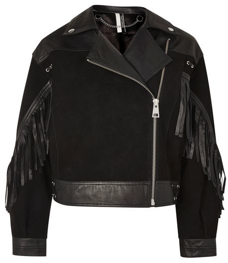 Topshop Topshop Stand out embellished leather biker jacket