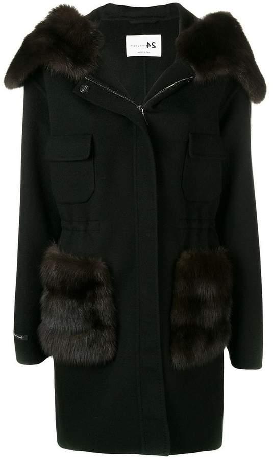 Manzoni 24 fur trimmed hooded coat