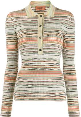 Missoni stripe patterned knitted polo shirt