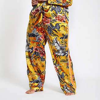 River Island Womens Plus yellow jacquard floral pyjama trousers