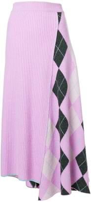 Pringle long Argyle intarsia skirt