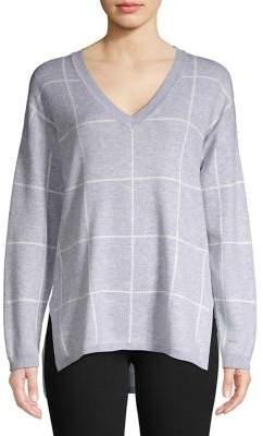 Jones New York Windowpane Drop Shoulder Sweater