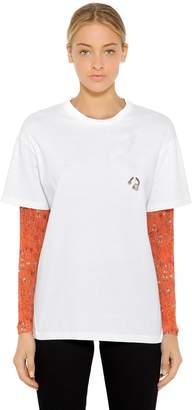 Pierced Jersey T-Shirt W/ Mesh Sleeves