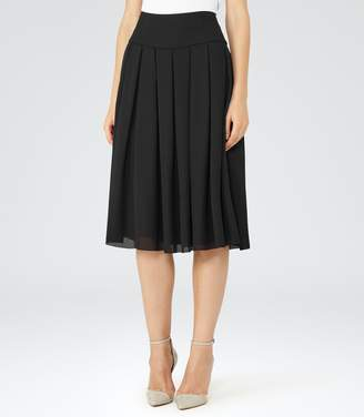 Reiss Eli - Pleated Midi Skirt in Black