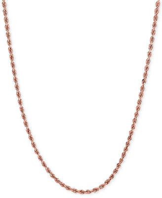 Macy's Rope Chain Necklace (1-3/4mm) in 14k Rose Gold