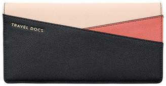 Love & Lore LOVE AND LORE COLOUR BLOCK TRAVEL WALLET BLACK, RUST AND BLUSH PINK