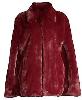 Burberry (バーバリー) - Burberry Burberry Women's Allford Plush Faux Fur Cape Jacket