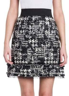 Dolce & Gabbana Fray-Hem Tweed Mini Skirt