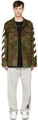Off-White Green Camouflage Diagonal Field Jacket