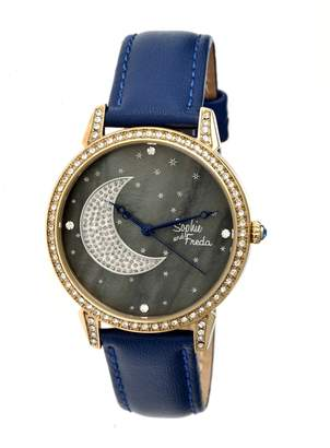 Freda Gold-tone Stainless Steel Case Black with Crystal Paved Moon Dial Ladies Watch