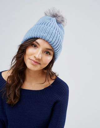 Alice Hannah Blue Chunky Knit Hat with Faux Fur Pom Pom Hat