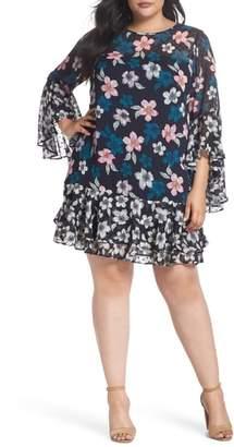 Eliza J Flounce Bell Sleeve Floral Fil Coupe Chiffon Shift Dress