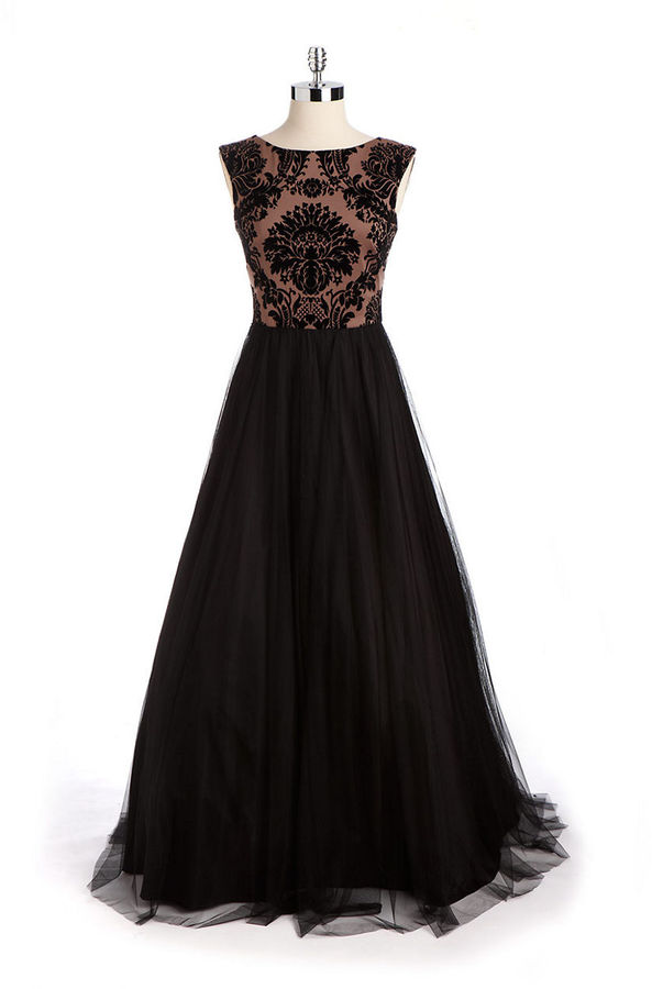 Aidan Mattox NITELINE Sleeveless Damask Evening Gown
