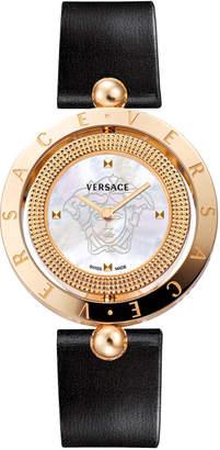 Versace 33mm Eon Reversible-Bezel Watch w/ Calf Leather Strap, Rose