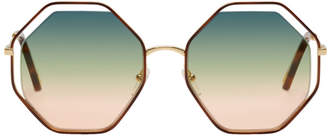 Chloé Gold and Green Poppy Sunglasses