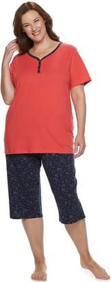 Croft & Barrow Plus Size Sleep Henley & Skimmer Capri Pajama Set