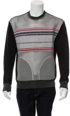James Long Mesh-Accented Crew Neck Sweater