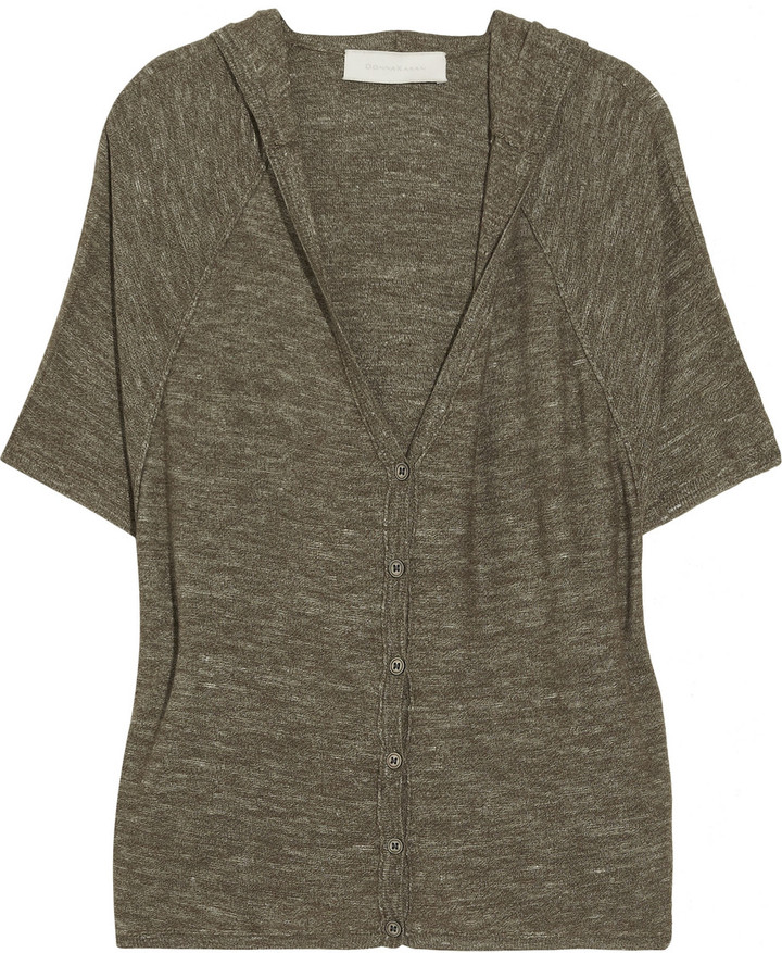 Donna Karan Hooded oversized wool and silk-blend cardigan