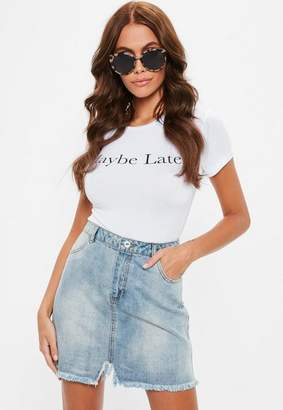 Raw Hem Mini Skirt Stonewash Blue $36 thestylecure.com