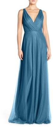 Women's Monique Lhuillier Bridesmaids Back Cutout Pleat Tulle Gown $298 thestylecure.com