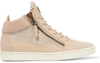 Giuseppe Zanotti - Leather And Suede High-top Sneakers - Neutral $695 thestylecure.com